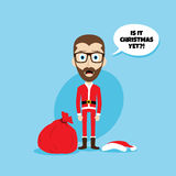 Santa claus costume skinny dad. Theme  illustration Royalty Free Stock Photo