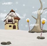 Santa Claus cottage. Nice winter illustration: Santa Claus cottage Stock Images