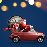 Santa Claus countdown on car stock illustration