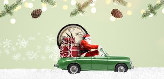 Santa Claus countdown on car royalty free illustration