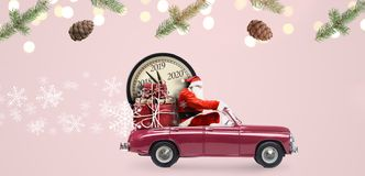 Santa Claus countdown on car vector illustration