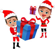 Santa Claus Couple Holding Gifts. Illustration featuring Bob and Meg celebrating Christmas in Santa Claus clothing costume and holding gift box isolated on white Stock Photos