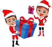 Santa Claus Couple Holding Gifts stock photos