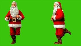 Santa Claus court autour avec l'accélération sur un écran vert pendant le Noël 4k illustration libre de droits
