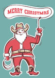 Santa Claus in cowboy boots  twirling a lasso with text Stock Photos