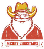 Santa Claus in cowboy hat on old paper with text Royalty Free Stock Photos