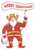 Santa Claus in coywboy boots  twirling a lasso Stock Photo