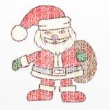 Santa Claus crayon drawing, kids drawing. Color pencil vector illustration