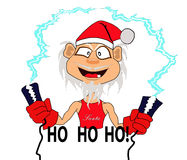 Santa Claus. A Santa crazy playing with electricity Royalty Free Illustration