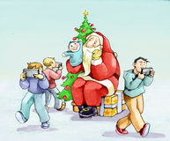 Santa Claus crisis in the era of cell phones Royalty Free Stock Image