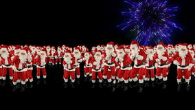 Santa Claus Crowd Dacing, Christmas Party Earth Shape, fireworks display. Hd video