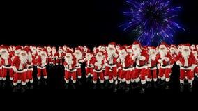 Santa Claus Crowd Dacing, de Aardevorm van de Kerstmispartij, vuurwerkvertoning stock video