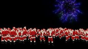 Santa Claus Crowd Dacing, Gelukkige het Nieuwjaarvorm van de Kerstmispartij, vuurwerkvertoning stock footage