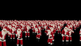 Santa Claus Crowd Dancing, Christmas Party cam fly over, against black, stock footage Stock Image