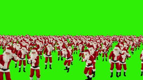 Santa Claus Crowd Dancing, Christmas Party cam fly over, Green Screen, stock footage
