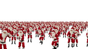 Santa Claus Crowd Dancing, Christmas Party camera fly over, against white, stock footage. Video stock video footage