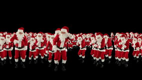 Santa Claus Crowd Dancing, Christmas Party Earth Shape, against black, stock footage Royalty Free Stock Photo