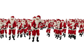 Santa Claus Crowd Dancing, Christmas Party Earth Shape, against white, stock footage