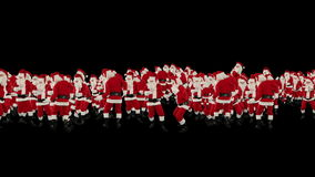 Santa Claus Crowd Dancing, Christmas Party Happy New Year Shape, against black, stock footage Royalty Free Stock Photography