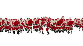 Santa Claus Crowd Dancing, Christmas Party Happy New Year Shape, against white, stock footage