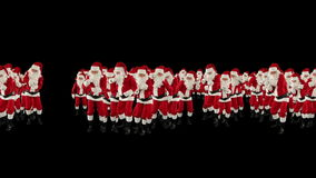 Santa Claus Crowd Dancing, Christmas Party Merry Christmas Shape, against black, stock footage stock video