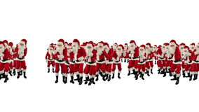 Santa Claus Crowd Dancing, Christmas Party Merry Christmas Shape, against white, stock footage Stock Image