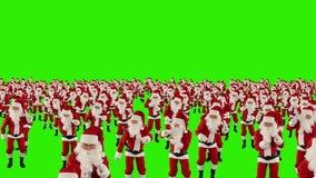 Santa Claus Crowd Dancing, de nokkenvlieg van de Kerstmispartij over, het Groene Scherm, voorraadlengte stock footage