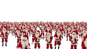 Santa Claus Crowd Dancing fluga för kamera för julparti över, mot vit, materiellängd i fot räknat lager videofilmer
