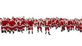 Santa Claus Crowd Dancing, forma de la Feliz Año Nuevo de la fiesta de Navidad, contra blanco, cantidad común almacen de metraje de vídeo
