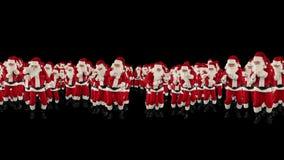 Santa Claus Crowd Dancing, forma de la Feliz Navidad de la fiesta de Navidad, contra negro, cantidad común almacen de video