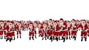 Santa Claus Crowd Dancing jord Shape för julparti, mot vit, materiellängd i fot räknat arkivfilmer