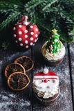 Santa Claus cup cake Stock Photos