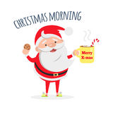 Santa Claus with Cup of Coffee and Tasty Biscuit. Royalty Free Stock Photos
