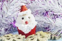 Santa Claus cupcake Stock Afbeelding