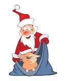 Santa Claus and Cute Cat Cartoon Royalty Free Stock Images