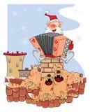 Santa Claus and Cute Cat Cartoon Royalty Free Stock Photos