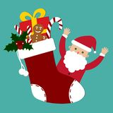 Santa Claus and cute christmas sock with gifts vector. Illustration royalty free illustration