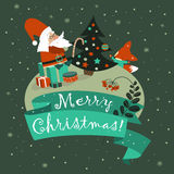 Santa Claus with cute fox celebrating Christmas. Vector illustration Stock Image
