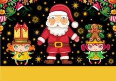 Santa Claus and cute girls Royalty Free Stock Image