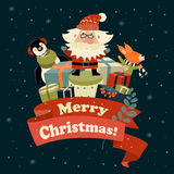 Santa Claus with cute squirrel and penguin Royalty Free Stock Photography