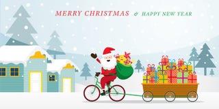 Santa Claus Cycling Bicycles mit Geschenkboxen im Warenkorb Lizenzfreie Stockfotos