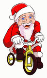 Santa claus cycling. Santa claus with a cute face happy cycling Stock Images