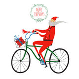 Santa Claus cyclist christmas illustration. Vector illustration with cute Santa Claus on city bicycle with gift box in basket Stock Images