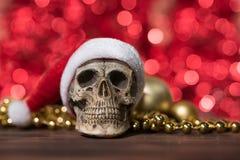 Santa Claus czaszka i złoto bożych narodzeń ornament Fotografia Royalty Free