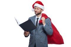 Santa Claus czytelnicza lista życzenia dla xmas Obraz Stock