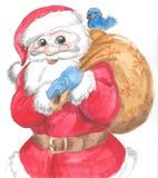Santa Claus d'isolement avec le sac et l'oiseau Images libres de droits