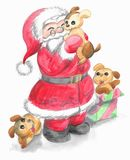 Santa Claus d'isolement avec les chiots mignons Images stock