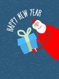 Santa Claus da el regalo del reat Tarjeta del día de fiesta del ejemplo del vector Fotos de archivo libres de regalías
