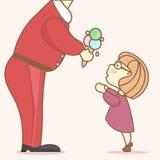 Santa Claus da a una muchacha divertida en regalo de los vidrios stock de ilustración