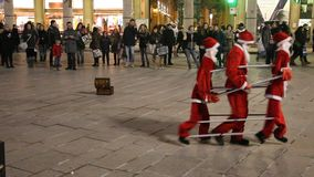 Santa Claus dance in Duomo Square, Milano stock video
